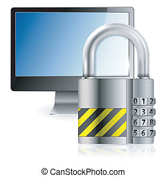 Safe Computer Concept - Business concept - Code Padlock...