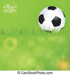 Soccer Ball on Grass with Bright Background, vector...