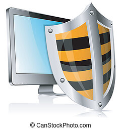 Safe Computer Concept - Business concept - Shield protects...