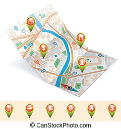 Navigation Concept - Map with Set Pointers, GPS Navigation...