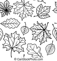 leaves seamless - Foliage of different breeds set. Seamless...