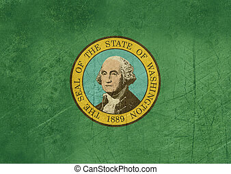 Grunge Washington state flag of America