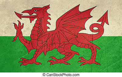 Grunge Welsh flag - Grunge Welsh Dragon flag illustration
