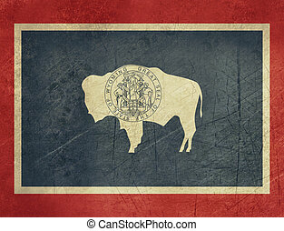 Grunge Wyoming state flag of America