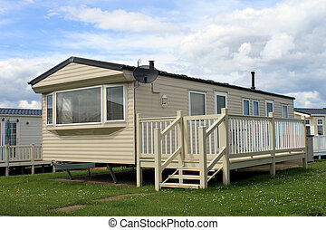 Holiday caravan or mobile home on trailer park.