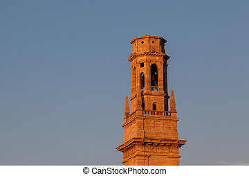 Bell Tower of Duomo Cathedral in Verona in the Morning,...