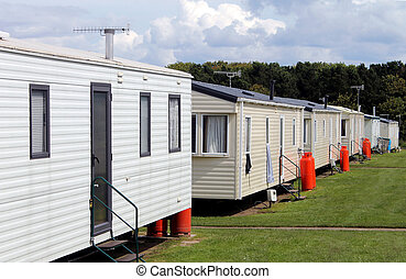 Static caravans in trailer park Scarborough, England