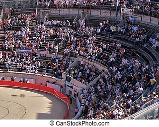 Roman Coliseum - Nimes, France - Interior of Roman Coliseum...