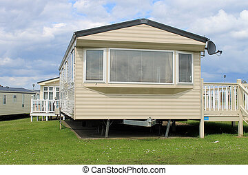 Caravan in trailer park - Scenic view of caravans in trailer...