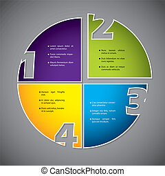Colorful diagram design with numbers