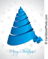 Ribbon christmas tree on white background - Blue ribbon...