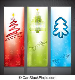 Christmas banners with various christmas tree designs -...
