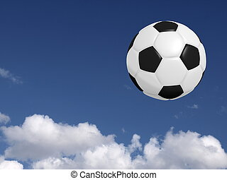 Soccer ball - Flying Soccer ball on a summer sky with clouds