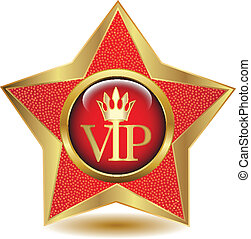 Gold star VIP icon. Vector