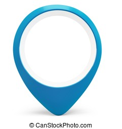 3d blue round pointer locator on white background