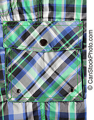Colored side pocket on shorts - Close-up of colored side...
