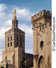Palais des Papes (The Pope's Palace) in Avignon ( France) -...