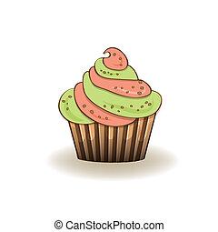aniversário, Cupcake, isolado, ligado, branca