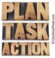 plan, task, action word in woot type - plan, task, action -...