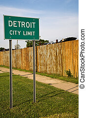 Detroit City Limit Sign and Auto Junkyard