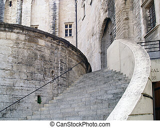 The Popes' Palace in Avignon, France - Stairway of The...