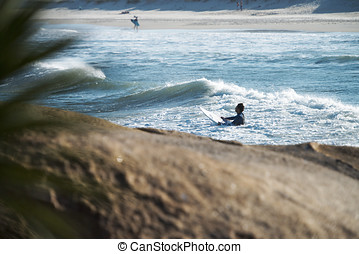 Florianopolis, Brazil - Surfers in the Praia do Joaquina,...