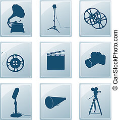 Icons with retro silhouettes of gramophone, reflector, film,...