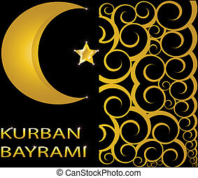 Kurban Bayrami muslim gold star and crescent on black...