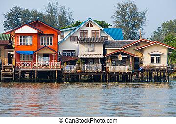 Over Water River Stilt Residential Houses Bangkok