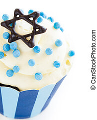 Cupcakes - Gourmet cupcakes decorated with white and blue...