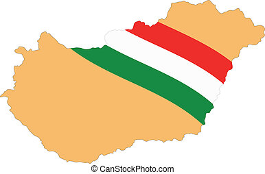 Map and Flag of Hungary Vector EPS
