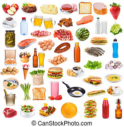Food collection  on white background