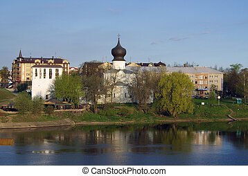 Pskov. Church of the Assumption of the ferry and the Belfry....
