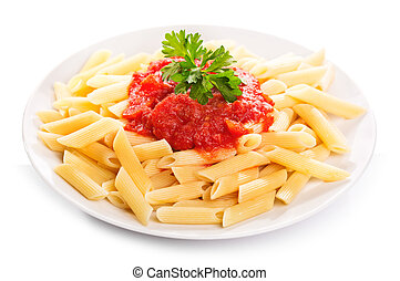 Pasta with tomato sauce on white background