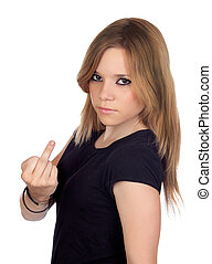 Attractive aggressive woman making an insulting gesture...