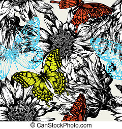 Seamless pattern with abstract flowers and flying butterflies. Vector illustration.