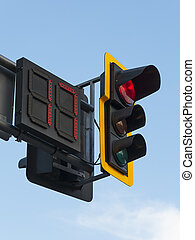 Traffic Light - Traffic light with red light, that will be...