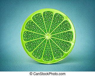 lime  - art lime isolated on a blue background