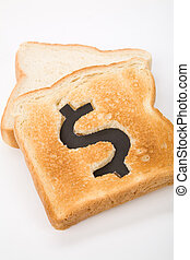 bread slice with dollar sign, concept high price of food or...
