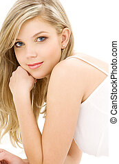 blonde in white cotton underwear - picture of blue-eyed...
