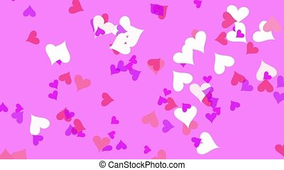 Hearts - Small hearts continuously change colors and...