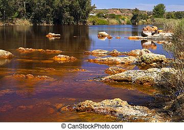 acidic rio ()river Tinto in Niebla (Huelva), Spain