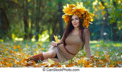 Woman Enjoying Autumn Day