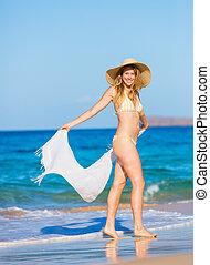 Beautiful Woman on the Beach - Beautiful Woman in Bikini...