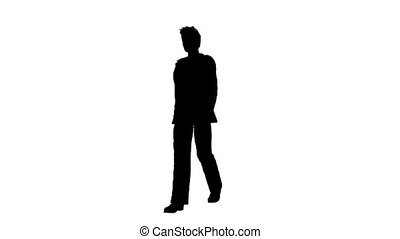 silhouette of%u3000man - silhouette of man walking