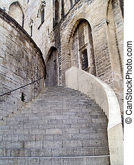 The Popes Palace in Avignon, France - Stairway of The Popes...