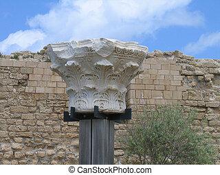 Detail of roman column . Caesarea.