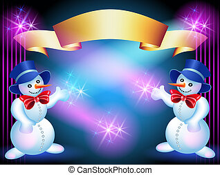 Christmas greetings card with Snowmans and golden ribbon
