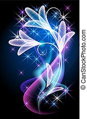 Glowing background with smoke and flowers