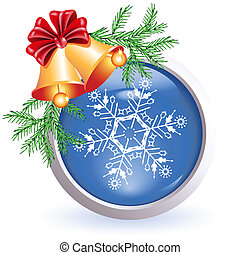 Christmas web button - Web button with christmas bells and...